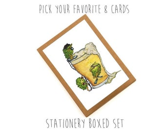Stationery CARD SET - VARIETY Pack of 8 Cards + Envelopes - Stationery pack, thank you cards, note card pack
