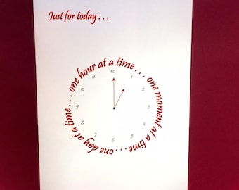 Clock - Just for Today - Red - Large Blank Note Card - Customizable