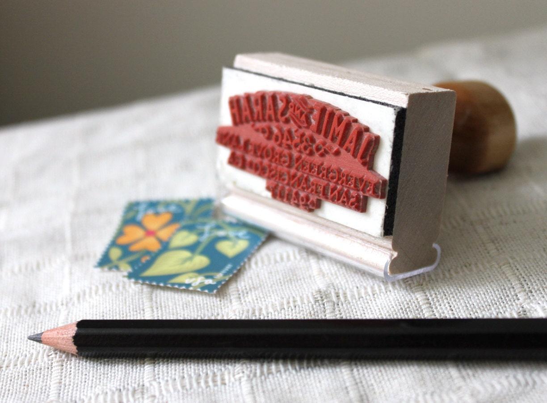 Family Address Stamp, custom return address stamp, vintage modern ...