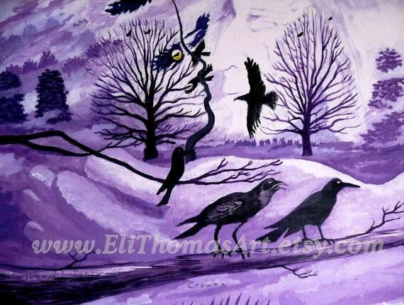 Amarillo Imagen Luna llena Enmarcado impresión-Gothic Crow//Raven de pie en un árbol