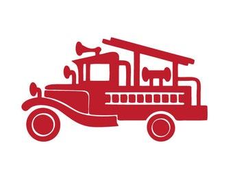 Vintage fire engine / firetruck / fire truck - vinyl wall decal