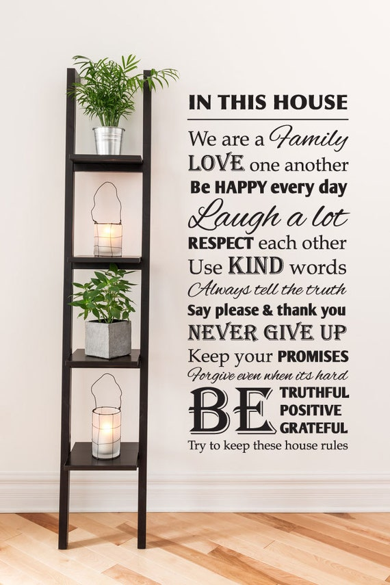House Rules Vinyl Wall Decal Etsy