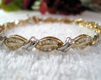 Estate 10K Diamond Tennis Bracelet, Wavy Links With 84 Inset Diamonds, Vintage Yellow and White Gold Jewelry, Gift For Her