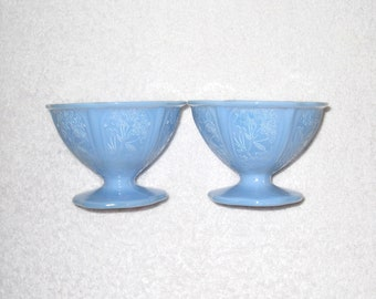 Jeannette Glass Delphite Dessert Bowls, 2 Blue Milk Glass Footed Sherbet Cups, Cherry Blossom Pattern, Opaque Depression Glass