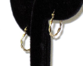 "Vintage 14K Gold Twisted Hoop Earrings For Pierced Ears, 3/4"" x 2mm, Designer Signed Fine Jewelry, Michael Anthony"