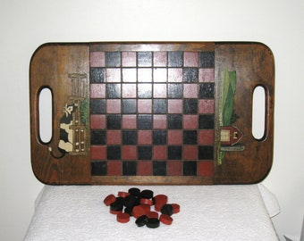 Handmade Wooden Checkerboard and Checkers, Country Folk Art, Hand Painted Barn and Cow Tray, Farmhouse Decor, 22.5 x 13""