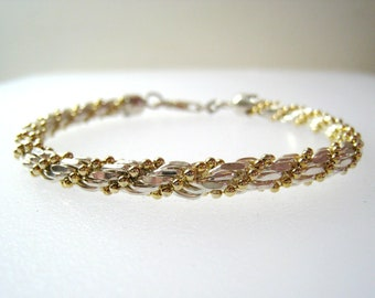 "Heavy Sterling Rope Bracelet With Gold Tone Beads, Vintage Italian Jewelry, Lobster Claw Clasp, 7 1/2"" x 3/8"""