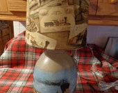 Antique Jug Hand-Painted Train and Scene (Vintage Trains Shade) Country Cabin Rustic