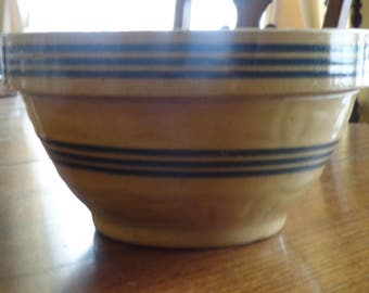 Antique Yelloware/Yellow ware Triple blue Banded Mixing Bowl/ Country/cabin/Rustic Look