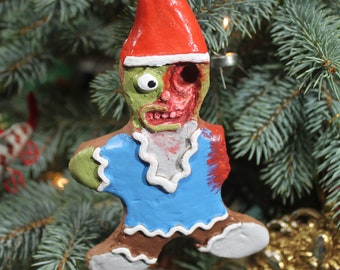 Zombie Gnome Ginger-Dead Man Cookie (Christmas Ornament)