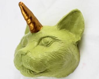 Chartreuse Cat Unicorn Wall Art