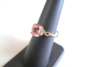 10k Gold, Diamond, and Pink Stone Ring SZ 6