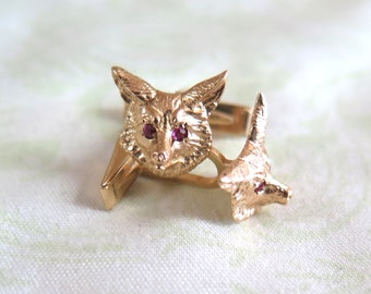 14K Gold Fox Cuff Links
