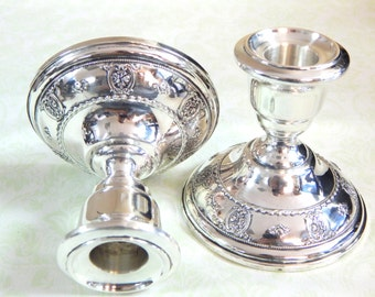1934 Wallace Weighted Sterling Silver Candlesticks- Rose Point