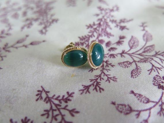 Bezel Set Green Stone Earrings