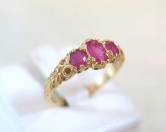 14k Art Nouveau Punch Pink Filigree Ring- Size 7