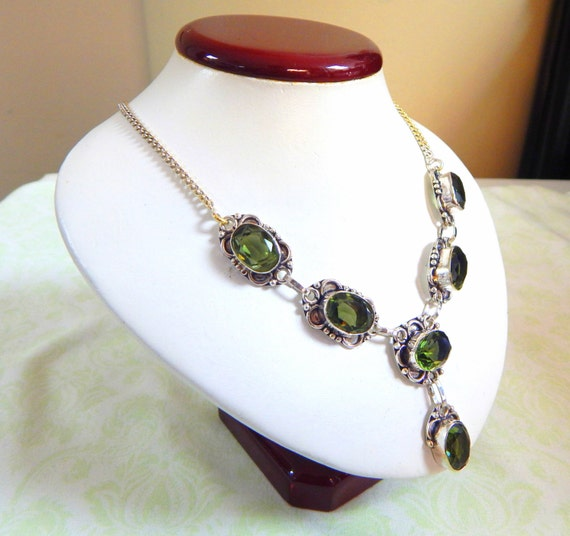 """Forest Green Sterling Silver """"Y"""" Necklace"""