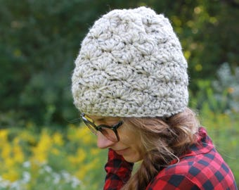Crocheted Textured Winter Hat / THE MADISON in Oatmeal / 36 Custom Colors