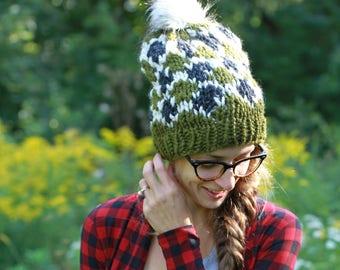 Slouchy Knit Handmade Textured Winter Hat / THE SERPENT