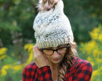 Handmade Knit Textured Winter Hat / THE WHITTNEY in Moonlight / 36 Custom Colors