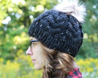 Handmade Knit Textured Winter Hat / THE ELIZABETH Petite in Obsidian / 36 Custom Colors