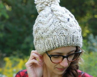 Handmade Cabled Knit Textured Winter Hat / THE ELIZABETH in Oatmeal / 36 Custom Colors