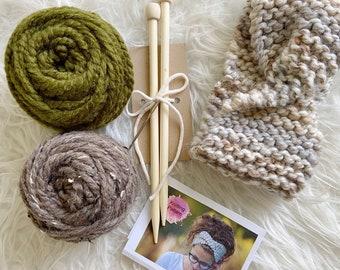 BEGINNERS KNITTING KIT, Beginners Simple Quick Knitting Pattern, Chunky Knit Headband Diy, Easy Knitting Project Kit, Complete Knit Kit