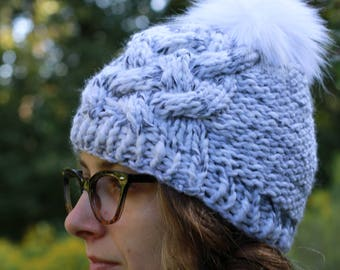 Handmade Cabled Knit Textured Winter Hat / THE WHITTNEY Petite in Marble / 36 Custom Colors
