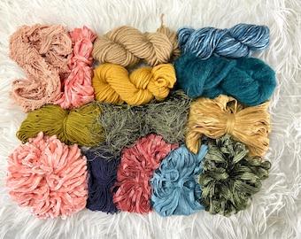 Mustard Blue Pink Green Weaving Fiber Pack, Macraweave Fiber Pack, Macraweave, Mini Weave Kit, Jewel Tones Fiber Pack, Weaving Yarn Pack