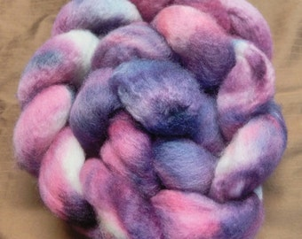 4 oz.  Bluefaced Leicester (BFL) wool roving; Silver Roses