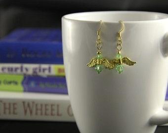 Angel dangle earrings (gold)