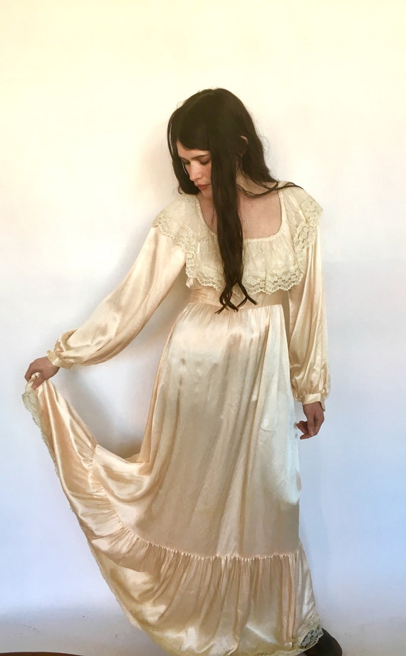 70s Gunne Sax Maxi Dress Bohemian Wedding Blush Iv