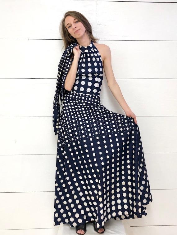 Vintage 70s Op Art Maxi Dress Disco Dress Designer