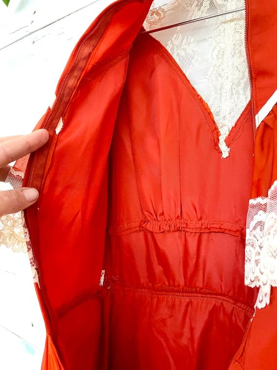 Vintage 70s Cottagecore Orange Lace Dress Rust Pr… - image 5