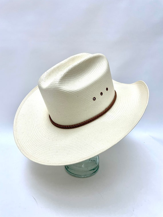 White Western Straw Hat Resistol Weatherproof Whi… - image 4