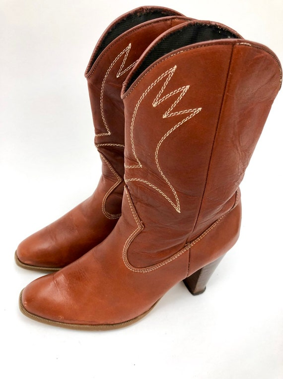 Vintage 70s Cowboy Boots High Heel Brown Boots Cow