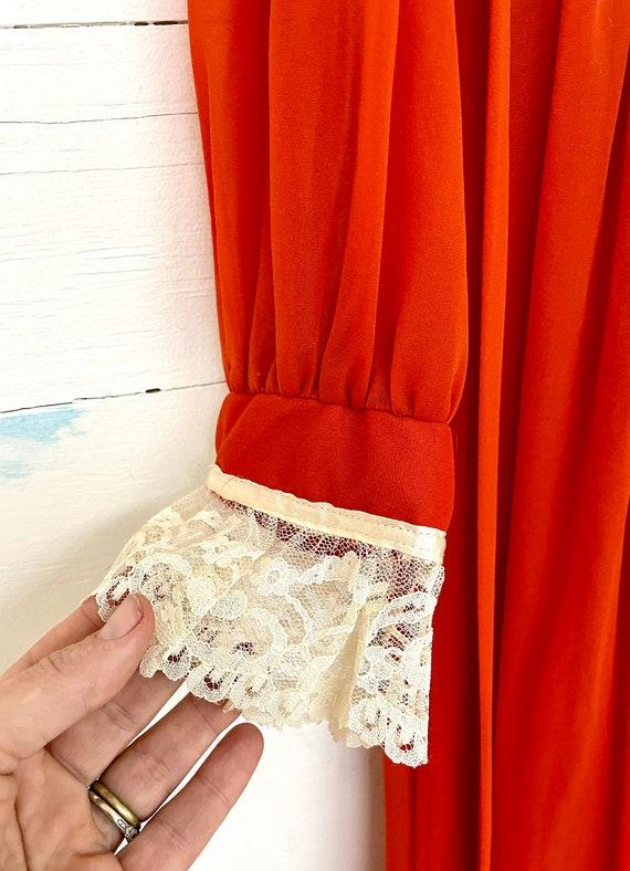 Vintage 70s Cottagecore Orange Lace Dress Rust Pr… - image 2