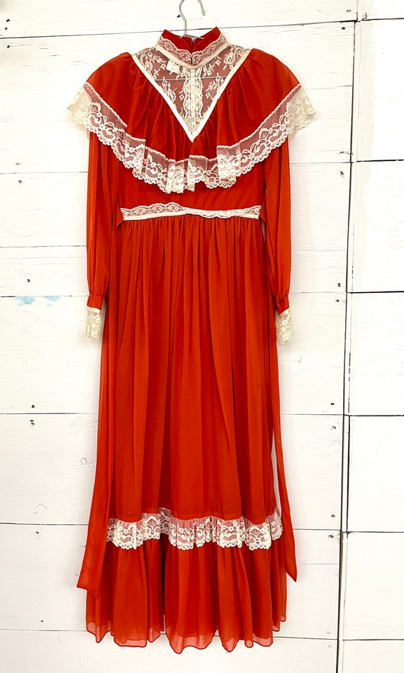 Vintage 70s Cottagecore Orange Lace Dress Rust Pr… - image 4