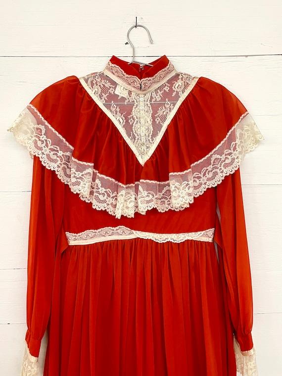 Vintage 70s Cottagecore Orange Lace Dress Rust Pr… - image 3