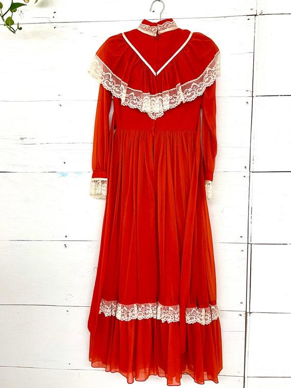 Vintage 70s Cottagecore Orange Lace Dress Rust Pr… - image 1