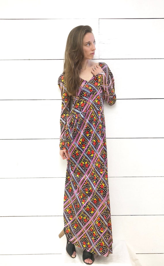 Vintage 70s Psychedelic Maxi Dress Colorful Print
