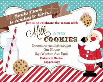 SANTA MILK and COOKIES invitation - you print