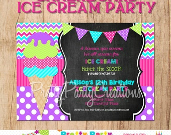 CHALKBOARD ICE CREAM Party invitation - You Print