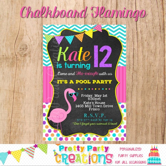 chalkboard flamingo invitation you print etsy