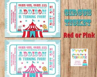 CIRCUS TICKET invitation - YOU Print - Red or Pink