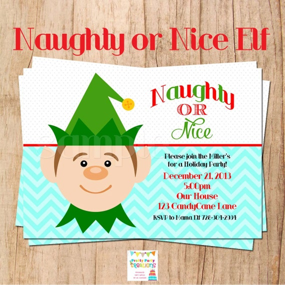 Naughty Or Nice Elf Holiday Party Invitation You Print By Pretty