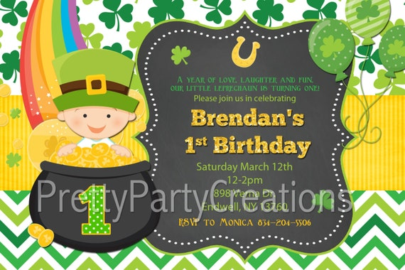 st patricks day baby first birthday invitation 3 to choose you