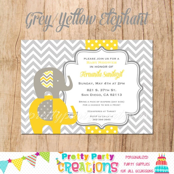 Grey And Yellow Elephant Baby Shower Invitation You Print By
