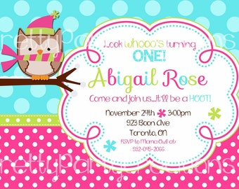 BRIGHT WINTER OWL invitation - You Print - with or without a photo