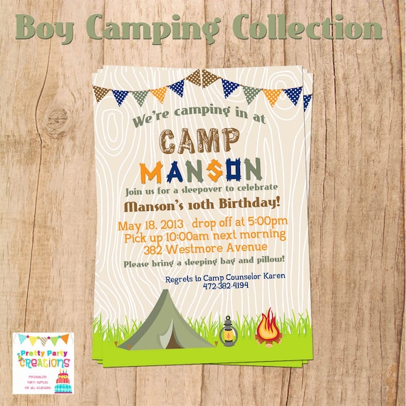 Camping Theme Invitations: Camping/sleepover Party